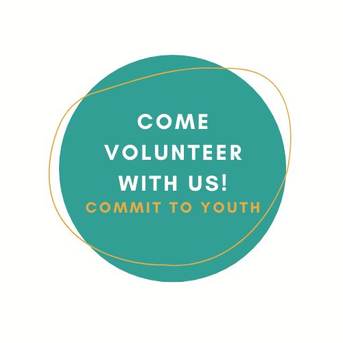 Come Volunteer with Us! Commit to Youth. Button to the volunteer page.