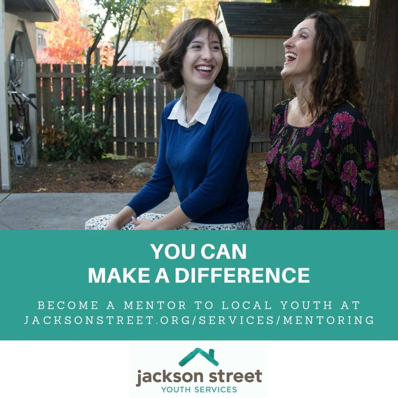 """Two people laughing. """"You can make a difference. Become a mentor to local youth"""""""
