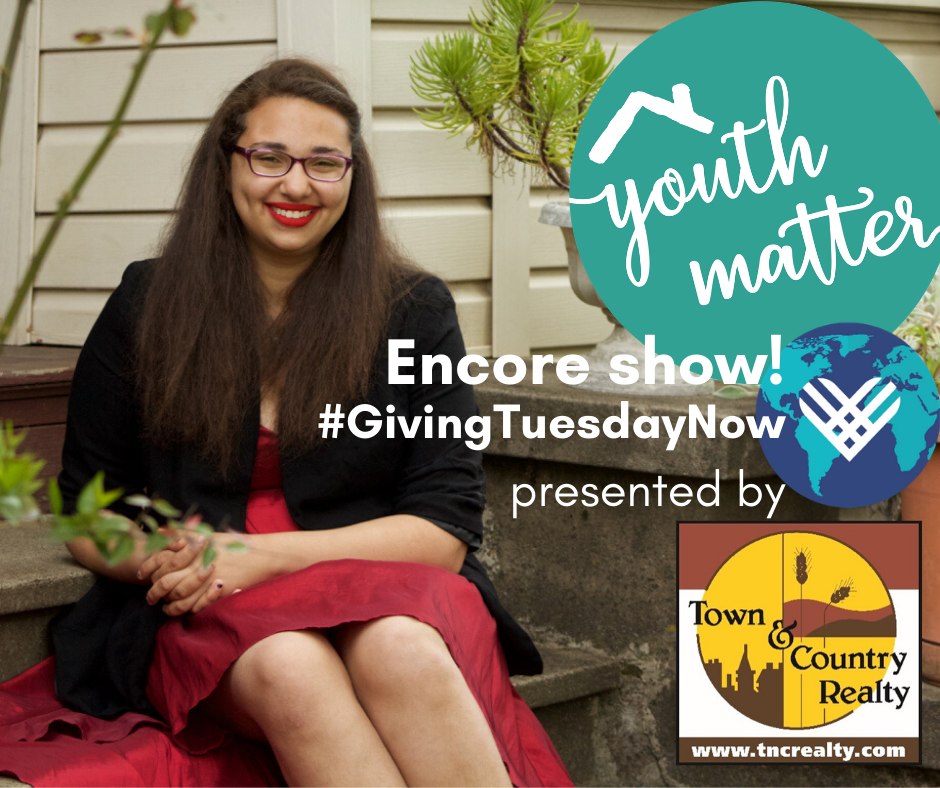 Picture of a youth smiling. Three logos for Jackson Street's annual fundraiser event, giving tuesday, and the annual fundraiser's lead business sponsor Town & Country Realty.
